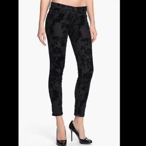 Current/Elliot Black Velvet Floral Skinny Jeans